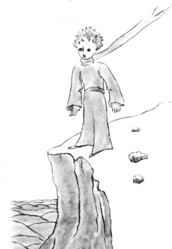 Der kleine Prinz an einer Klippe