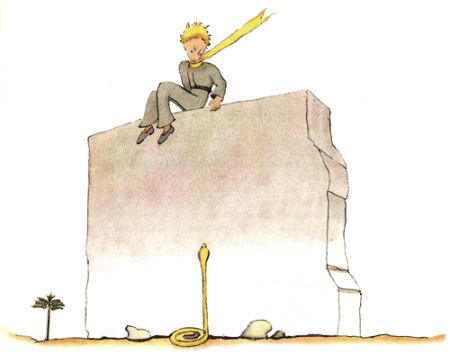 Der kleine Prinz auf der Mauer spricht mit der Schlange