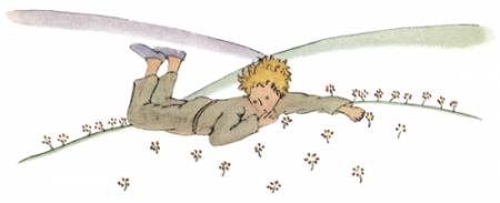 Der kleine Prinz liegt auf der Wiese und weint